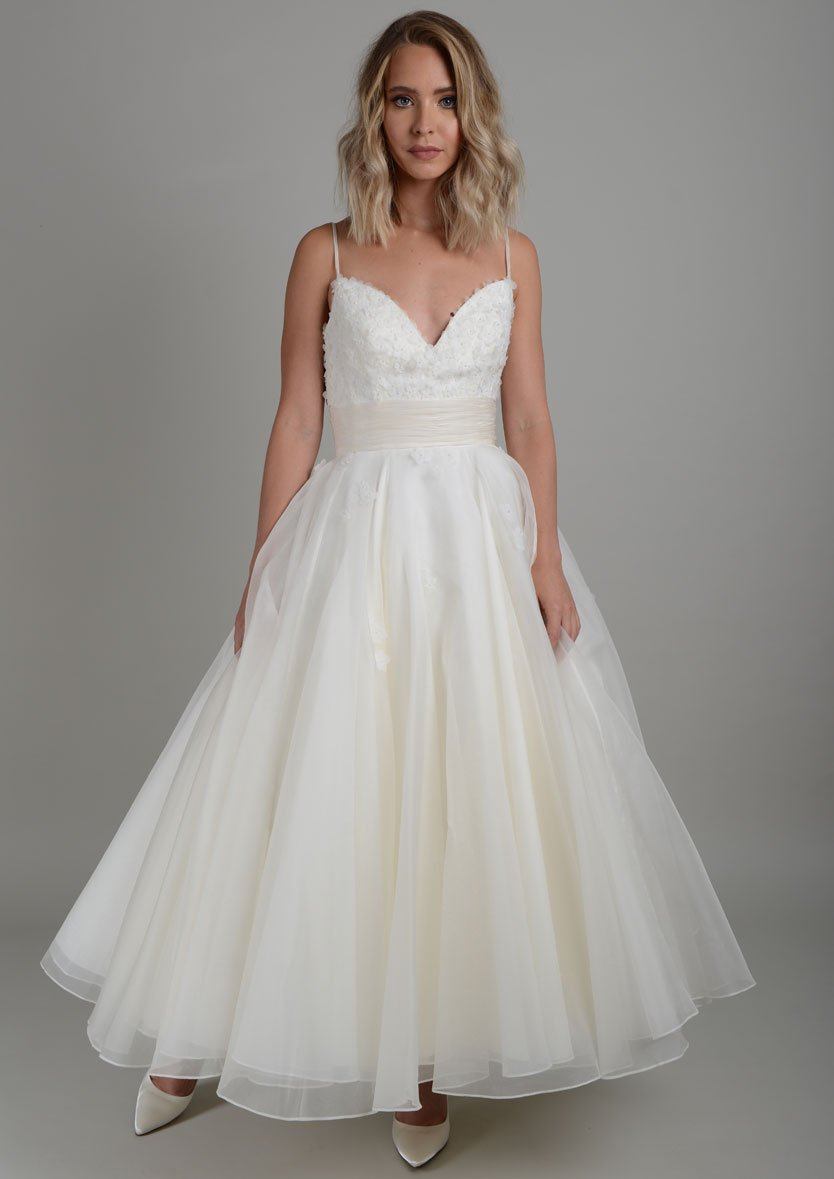 Silk organza strappy tea length wedding dress