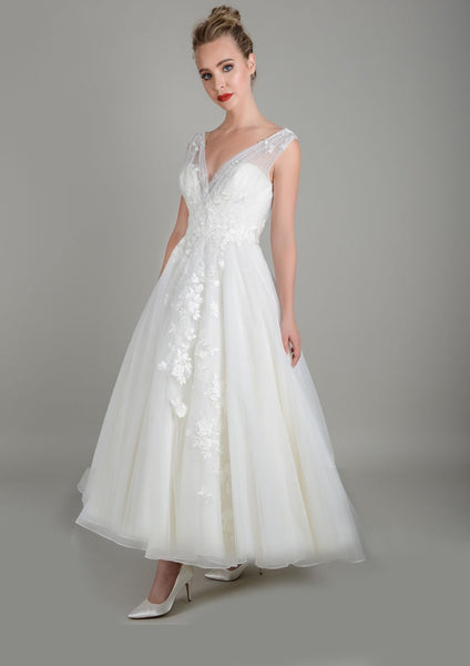 Image of Lois Wild Zinnia tea length wedding gown in super soft tulle with delicate lace appliqué