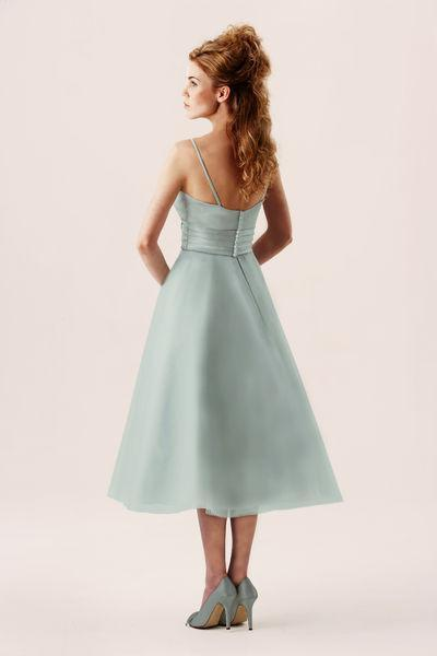 tb-m532-s Susan - Satin and tulle Fifties style short wedding or prom gown.