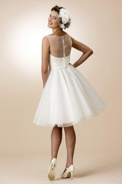 tb-brenda Short retro fifties spotty tulle bridal dress