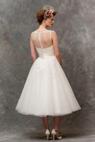 tb-w136 Tea length retro style short wedding gown