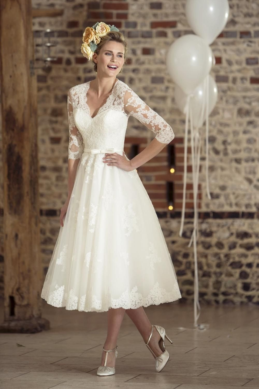 Tea length vintage style wedding dresses short 50s for 50s inspired wedding dress
