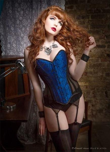 vk-deadly Overbust corset with electric blue brocade, front and back, and sheer sides
