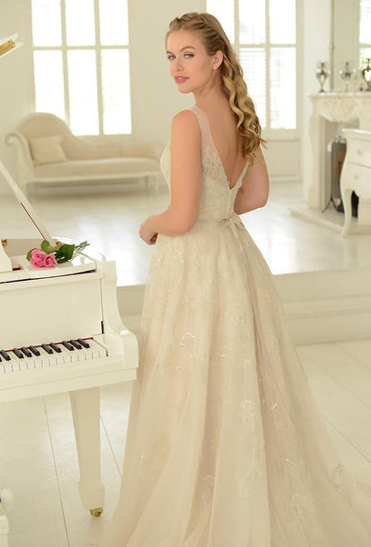 Sequin embroidered tulle Fifties style tea length wedding gown
