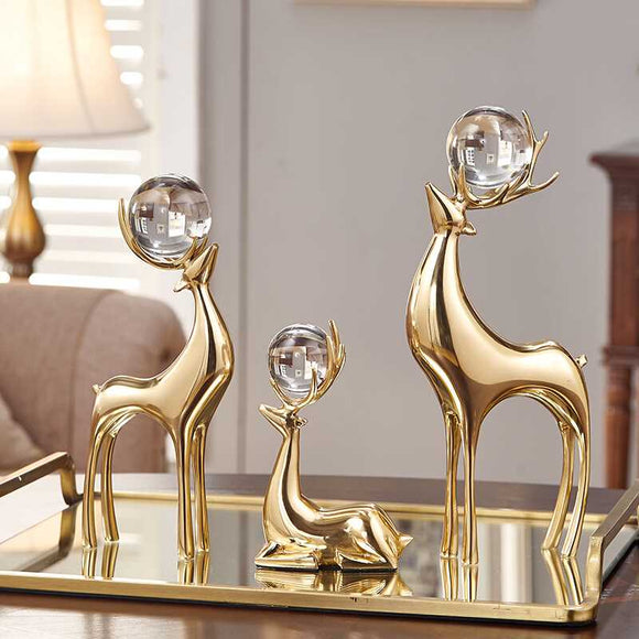 Creative Copper deer Crystal ball figurine