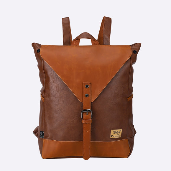 Faux Leather Tan Buckle Front Backpack