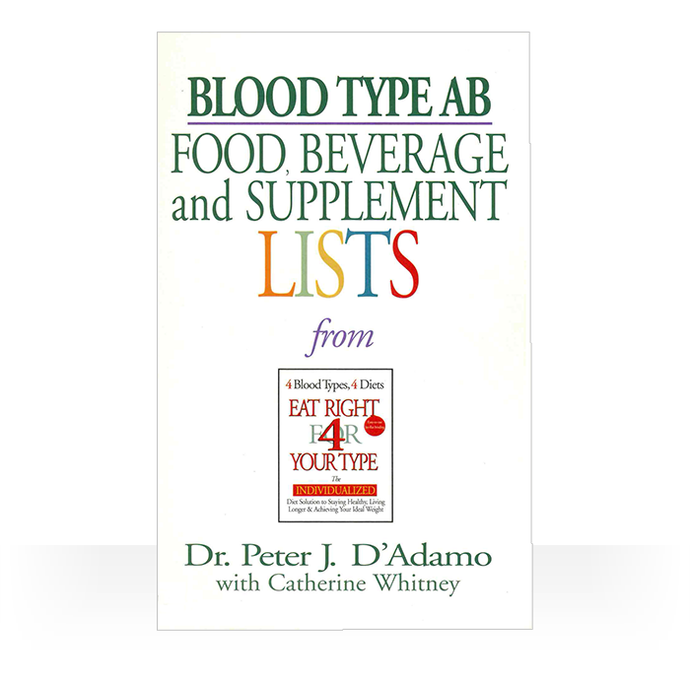 Eat Right 4 Blood Type AB - Individual Food, Drink and Supplement lists paperback