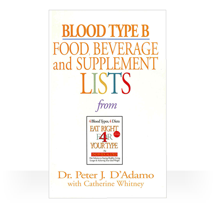 Eat Right 4 Blood Type B - Individual Food, Drink and Supplement lists paperback