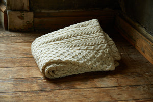 Cream Fleck New Wool Knitted Blanket
