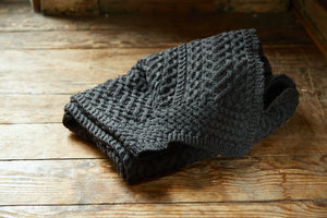 Charcoal Pure New Wool Knitted Blanket