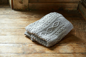 Slate Grey Super Soft Merino Knitted Wool Blanket