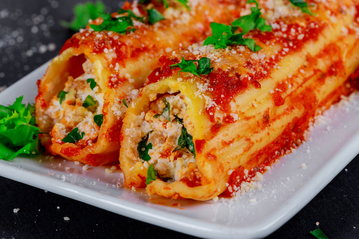 Winter Root Vegetable and Walnut Manicotti (Vegetarian)