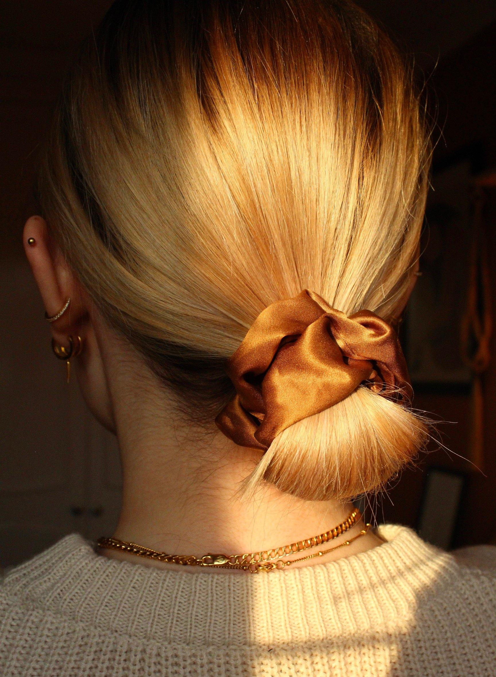 Salted Caramel 100% Mulberry Silk Scrunchie - Makeup and Mane