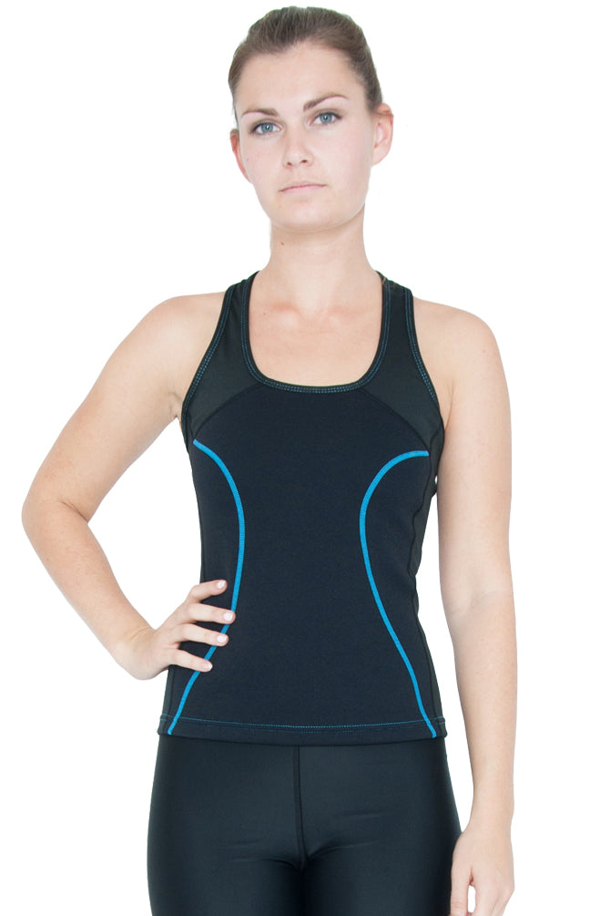 Heat Maximizing Full Coverage Racer-back Tank - Black/Turquoise