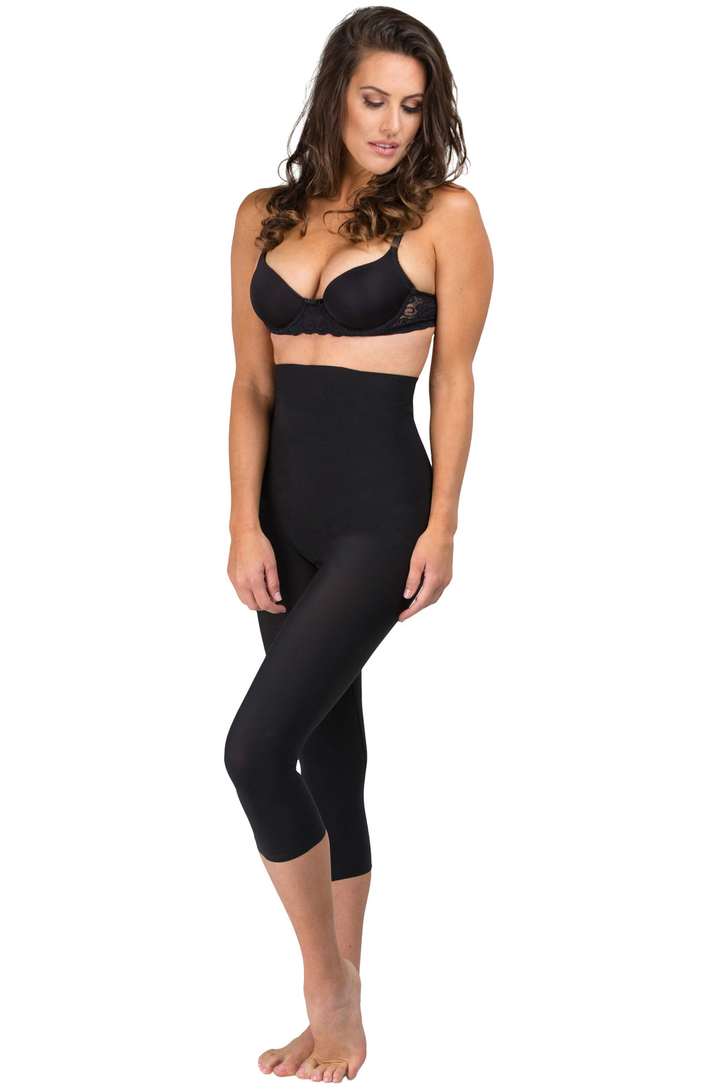 Body Slimming High Waist Capris - Black