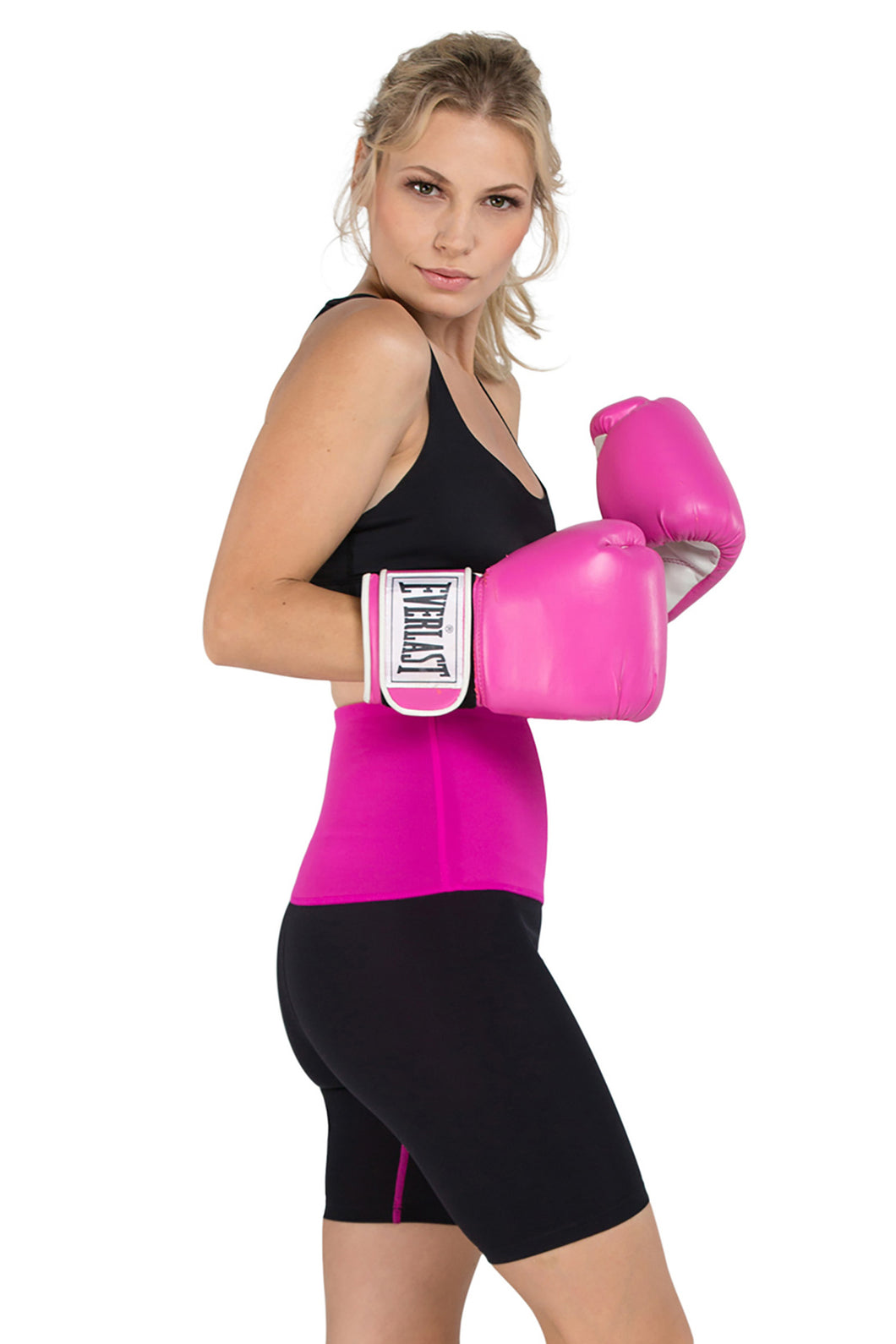 Mineral Infused High Waist Exercise Shorts - Black/Pink