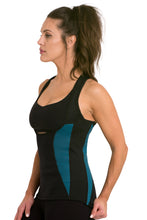 Load image into Gallery viewer, Heat Maximizing Underbust Racer-back Tank - Black/Teal