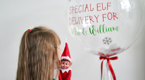 Personalised Elf Balloon Arrival, ideal balloon gift for young children, naughty Christmas elf arrival ideas, bubble balloon, elf arrival, Christmas advent, Christmas balloon,