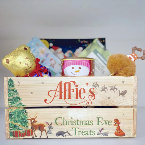 Personalised Woodland Christmas Eve Crate Box