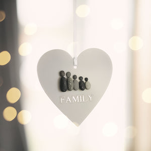 Personalised FAMILY Pebble Hanging Heart