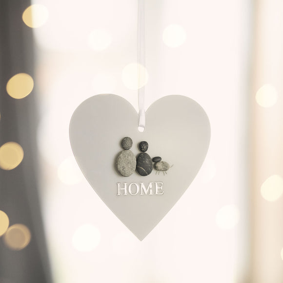 Personalised HOME Pebble Hanging Heart