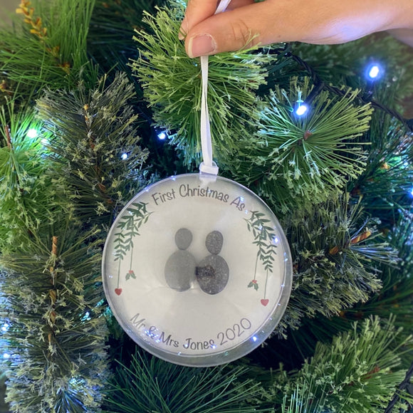 Personalised First Christmas As Mr & Mrs Pebble Bauble
