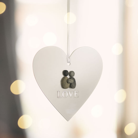 Personalised LOVE Pebble Hanging Heart