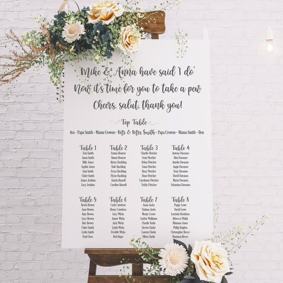 Personalised Table Planner Sign