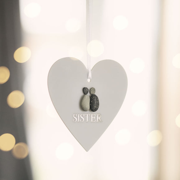 Personalised SISTER Pebble Hanging Heart