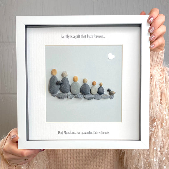 Personalised Family Slate Pebble Picture
