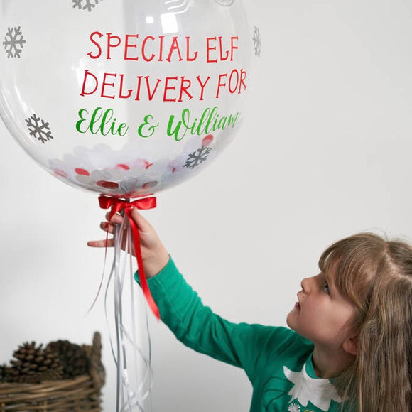 Personalised Christmas Elf Arrival Bubble Balloon