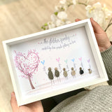 Personalised Pebble Family Balloon Tree Box Frame