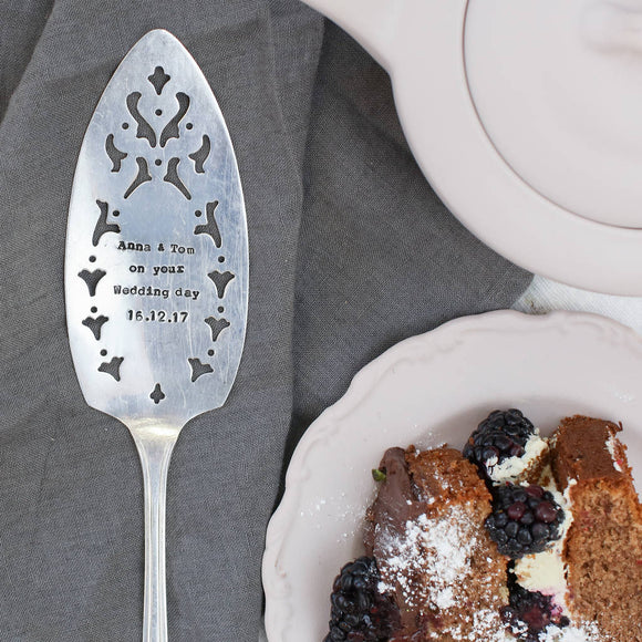 Personalised Silver Plated Vintage Cake Slice