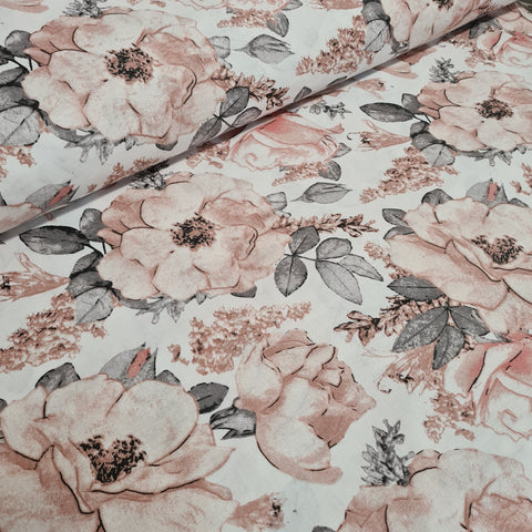 Roses on White Cotton 10m