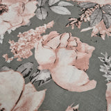 Roses on Grey  Grey Cotton 10m