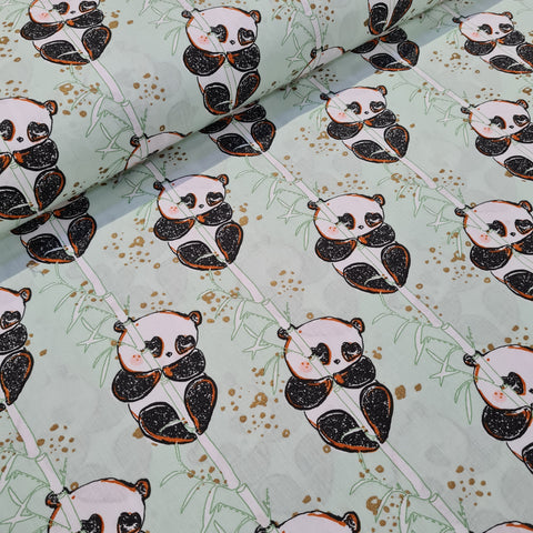 Bamboo Panda Mint Cotton 10m