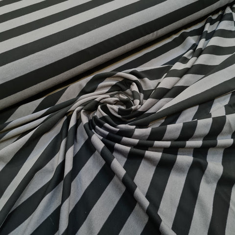 Grey and Black Stripes Viscose Jersey 10m