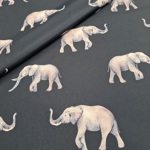 Waterproof Fabric Elephants Navy 10m