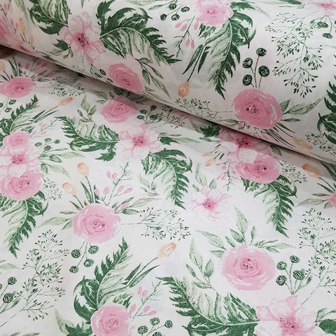 Rose Garden White Cotton 10m