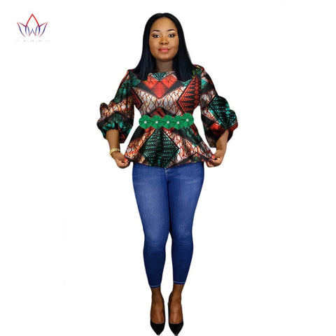 African Print Wax Shirt for Women Dashiki Flower Africa Clothing Bazin Plus Size Traditional African Clothing WY2243