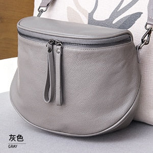 Fashion Women Handbag 100% Genuine Leather waist bag Lady Casual Tote  Female Crossbody Messenger Purse Grey Shoulder Bag