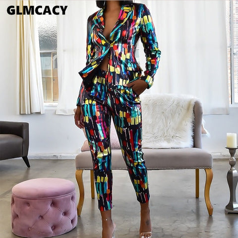 Women Two Piece Matching Sets Tie Dye Printed Notched Lapel Collar Blazer & High Waist Bodycon Skinny Pants Chic Outfit Suit
