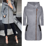 Autumn Winter Plus Size Fashion Women Coat Solid Color Zip up Long Sleeve Hooded Jacket Coat Outerwear Long Section Women's Coat