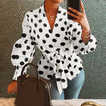 Women Tops and Blouses Celmia Autumn Lantern Sleeve Tunic Shirts Casual Loose V-Neck Ladies Blusas femininas Belted Plus Size