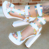 2020 Women Platform Sandals Open Toe Cut Out High Heels Shoes Hook-and-Loop Ankle Strap Sexy Stiletto Shoes Buckle Decor Sandals
