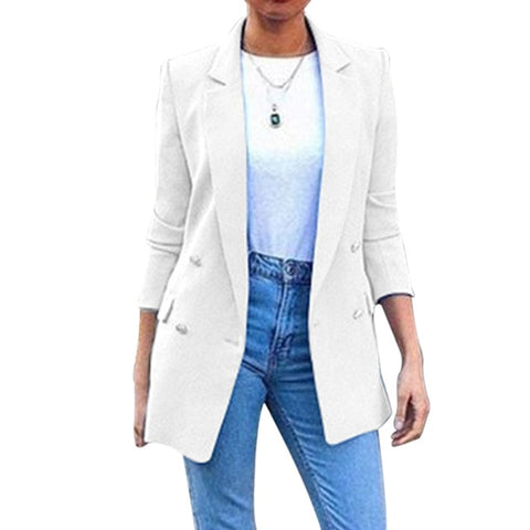 2020 Casual Blazer Womens Fashion Solid Buttons Blazers Coats Office Ladies Collar Slim Coat For Female Outerwear Plus Size 5XL