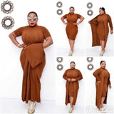Casual Sweater Set Womens 2 Piece Outfit Set Plus Size Suit Stand Collar Short Sleeve Dress&Long Coat Suit Tracksuit Vestidos