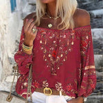 Women Sexy Lace-up Tassel Off Shoulder Blouse Shirt 2020 Autumn Elegant Floral Print Flare Long Sleeve Tops Ladies Chic Blouses
