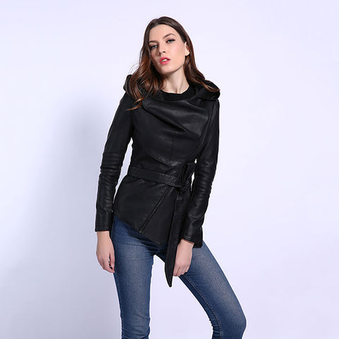 AORRYVLA 2020 New Autumn Women Slim Leather Jacket Hoodies Full Sleeve Short Length Casual Black Faux Leather Jacket With Belt