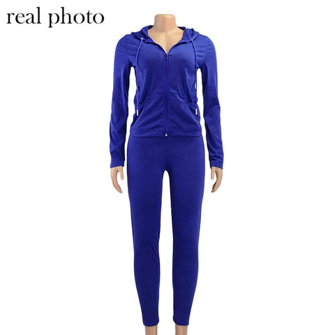 Simenual Casual Sporty Hooded Zipper Women Matching Set Long Sleeve Fashion Workout Tracksuits Skinny Top And Pants Co-ord Sets